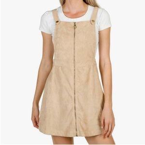Beige Jumper Overall Mini, Suede Dress, New